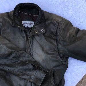 CHESSKING Vintage Brown Leather Jacket